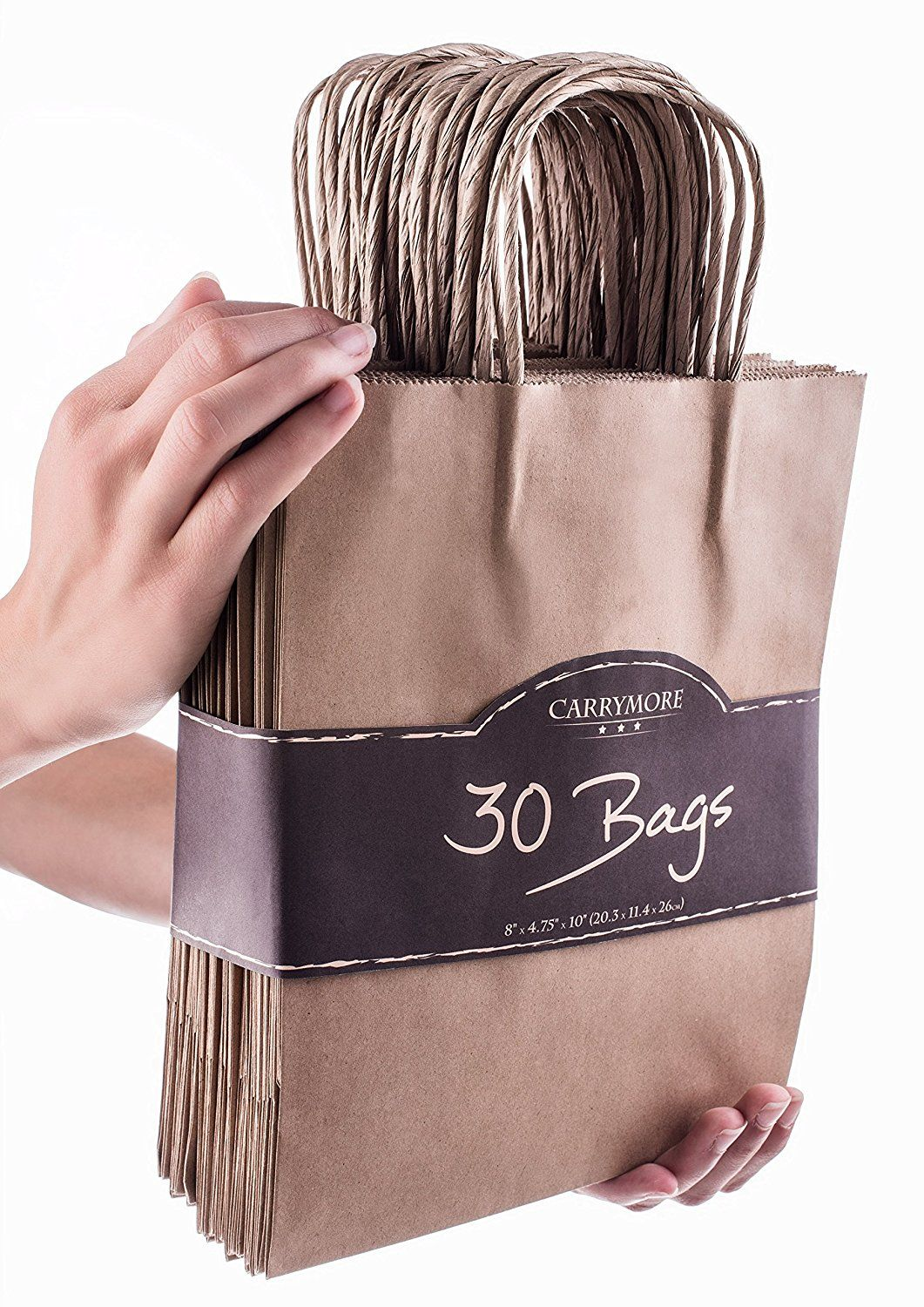 Extra strong craft brown paper bag handles for safe