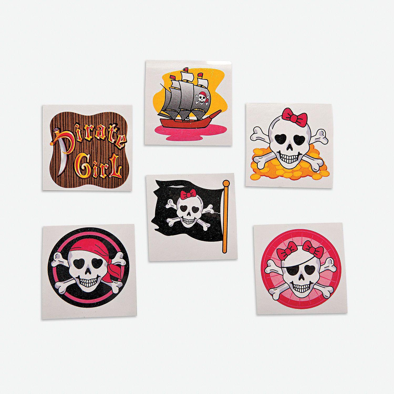Girly Pirate Glitter Tattoos - OrientalTrading.com