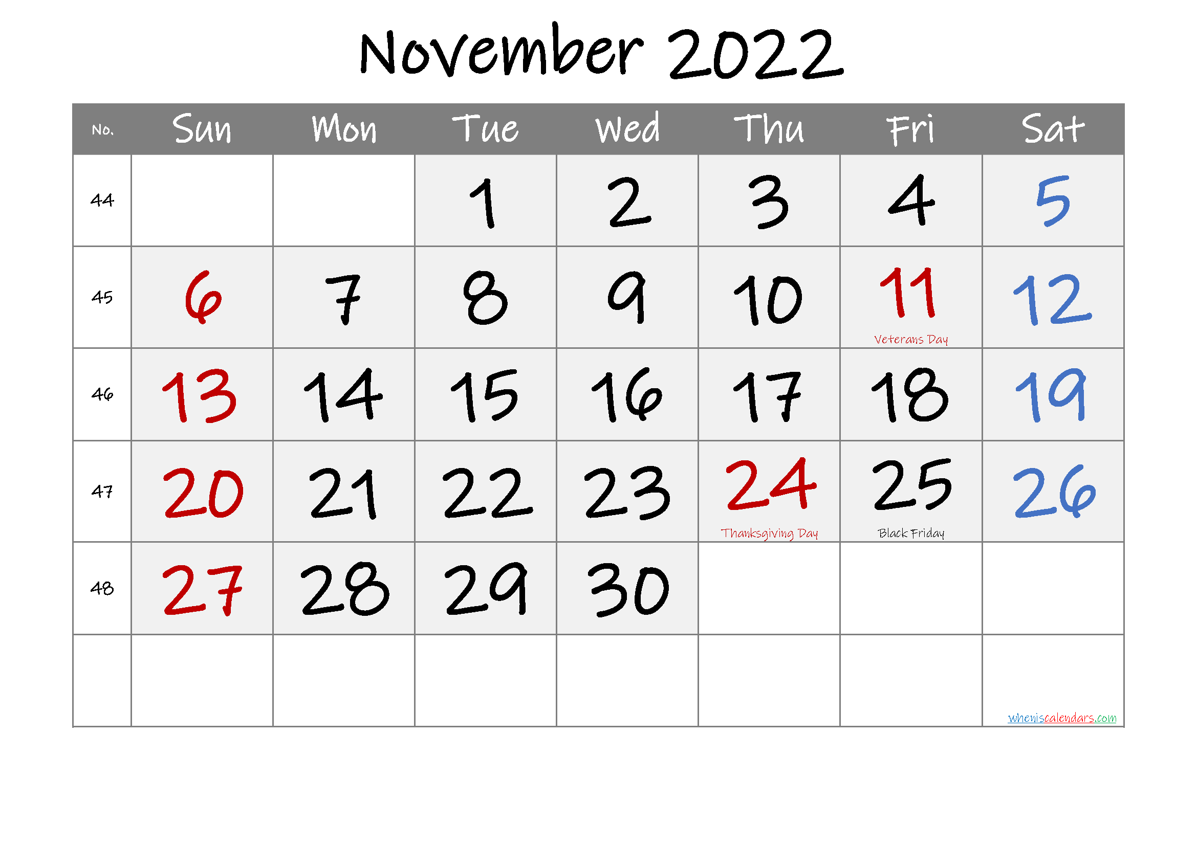 Printable November 2022 Calendar.Free Printable November 2022 Calendar Calendar Printables Printable Calendar Template Monthly Calendar Printable