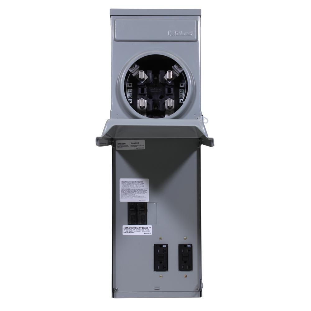 Ge 100 Amp Ringless Metered Temporary Power Box With Gfci Top Feed R011c010 The Home Depot Gfci Metering Receptacles