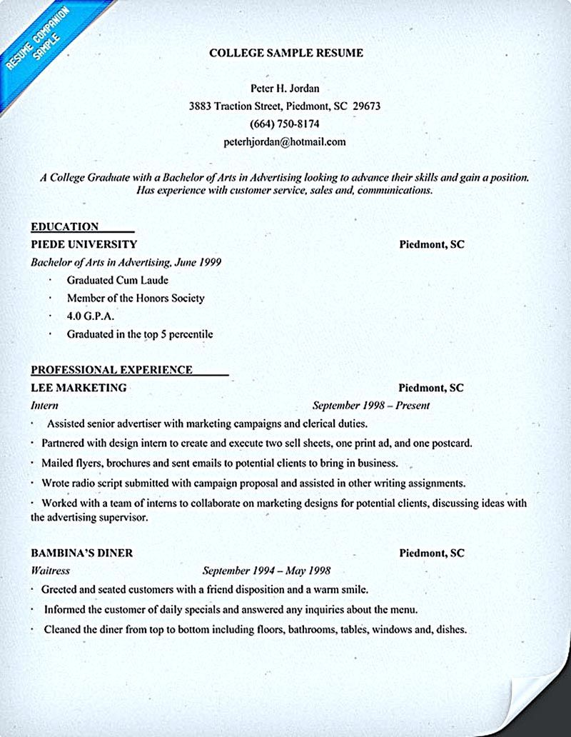 Be Skillful in Writing College Student Resume Student