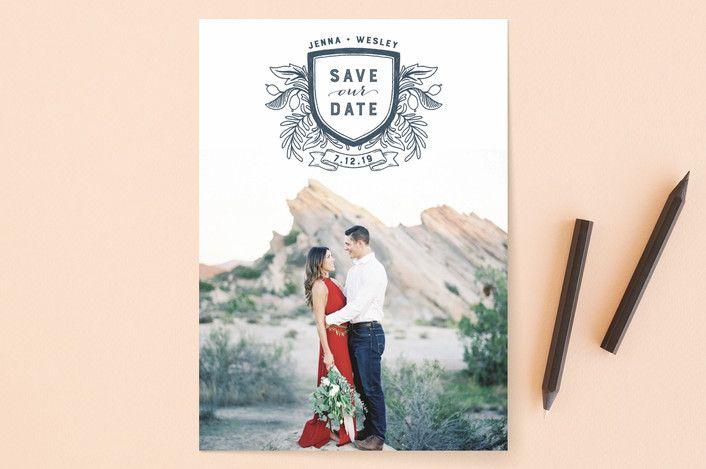 Poetic Crest Formal Monogrammed Save The Date Cards In Slate