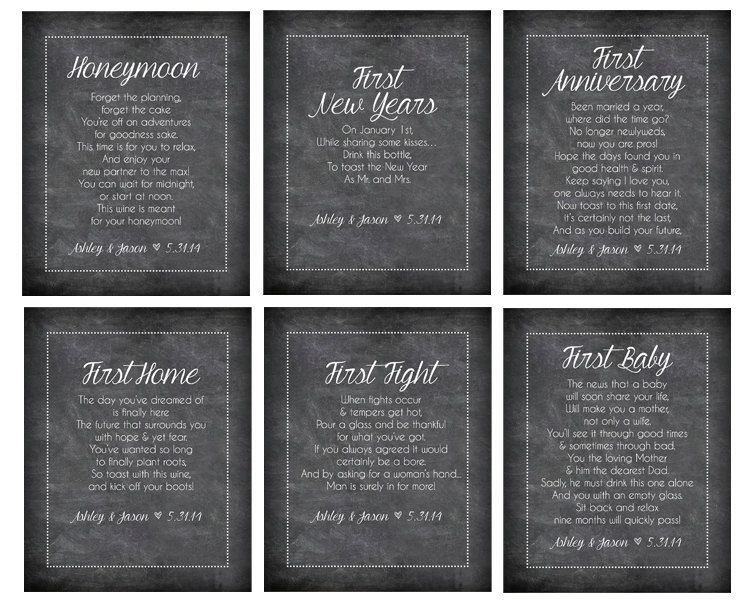 Wine Bottle Labels For First Milestones Anniversary Poems Unique Bridal Shower Gift Wedding Set Of 6 Diy Gifts