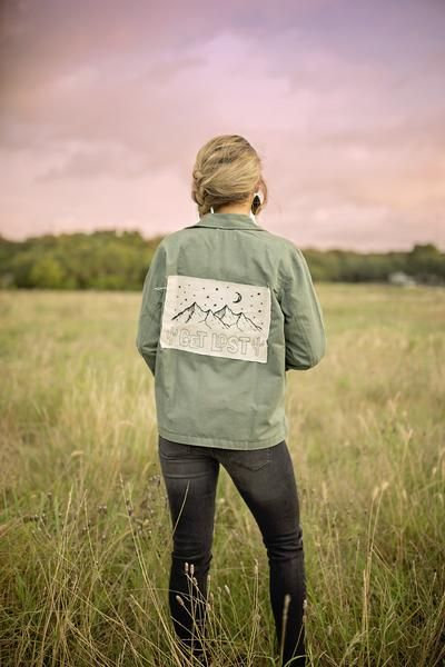 029941c7aae87 Sage and the label army green jacket with back patch work