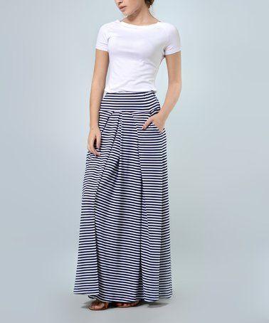 efe441d68cb Look at this  zulilyfind! Navy Blue   White Stripe Pocket Maxi Skirt ...