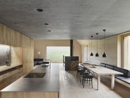 Concrete ceiling & sleek lines!