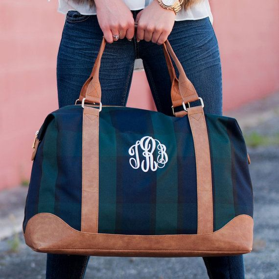 Plaid Monogram Weekender Bag - Monogrammed Plaid Weekender Bag - Plaid Overnight Bag - Plaid Travel Bag - Monogram Plaid Bag