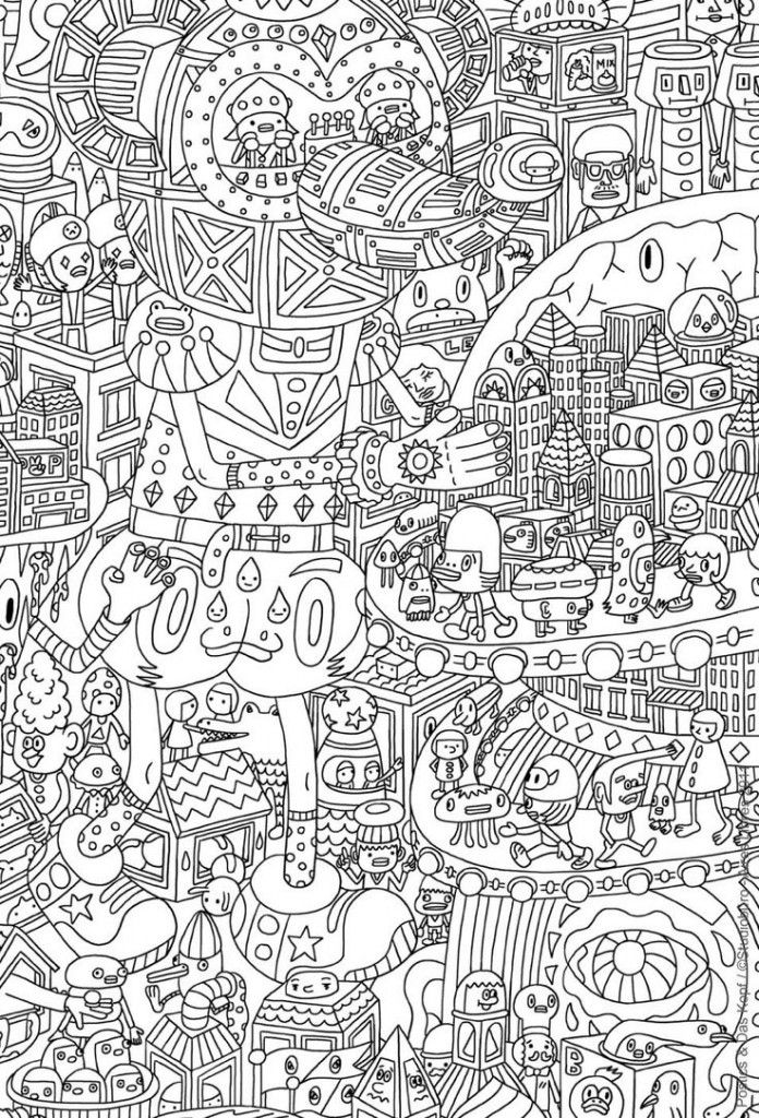 Very challenging coloring page for Adults Free Printable  Enjoy