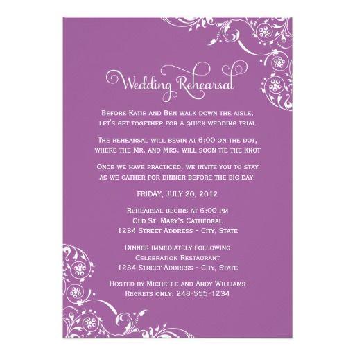 wedding rehearsal violet scroll invitation dinner invitations