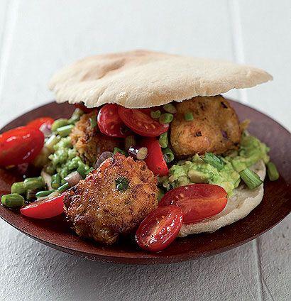 50 unbelievably delicious vegan recipes  - yummy Chickpea falafel pita breads on lemony avocado