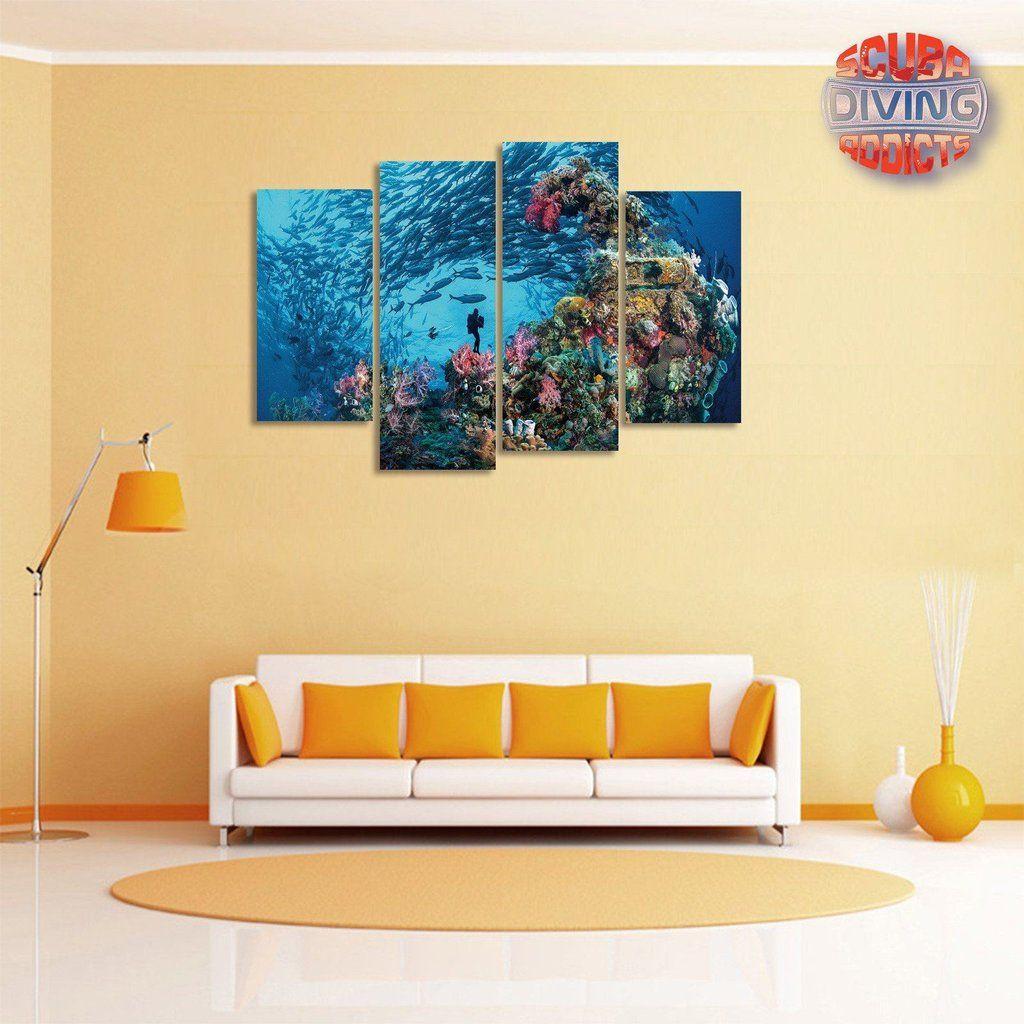 Underwater Explorer 4 Piece Canvas | Underwater and Canvases