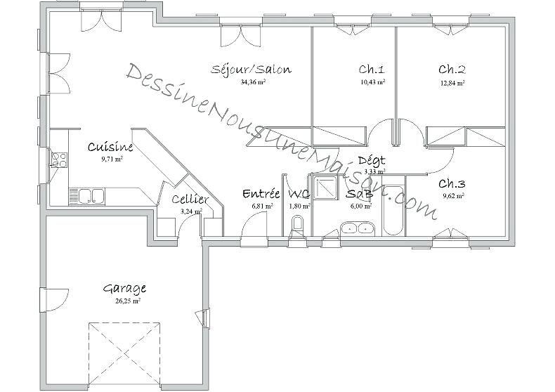 plans de maisons plain pied - Plan De La Maison planlamaison - image de plan de maison