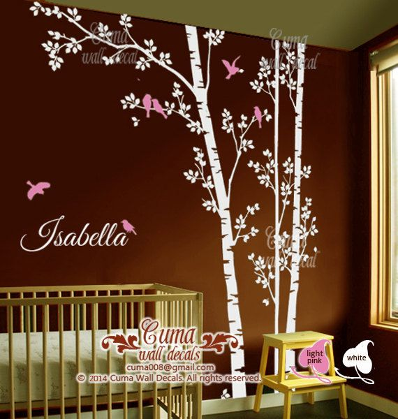 Tree And Birds Wall Decal Nursery Wall Decals Monogram Wall Decals - Monogram wall decal for kids