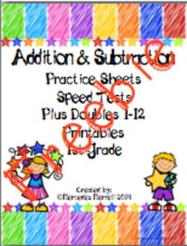 FREEBIE! Addition & Subtraction Practice Sheets, Speed Tes