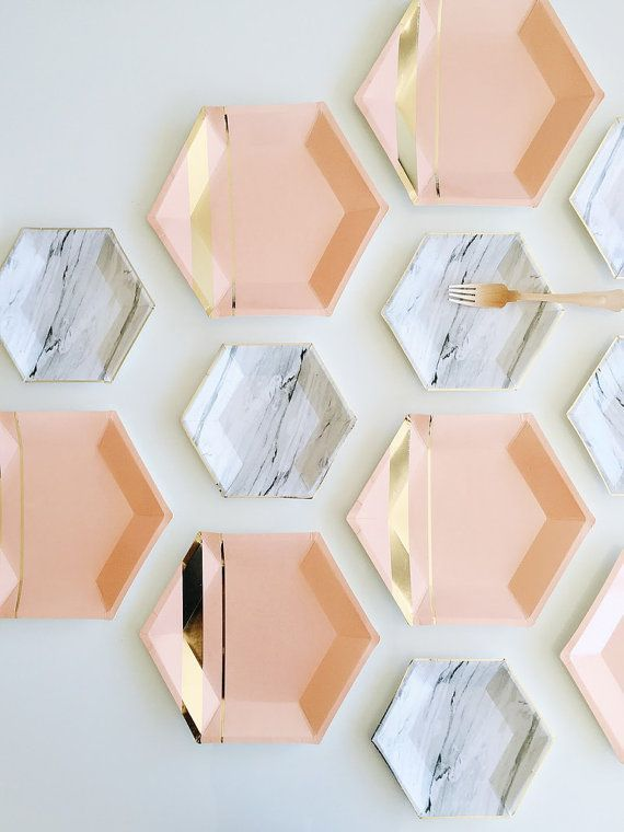hexagon paper plates marble and gold foil