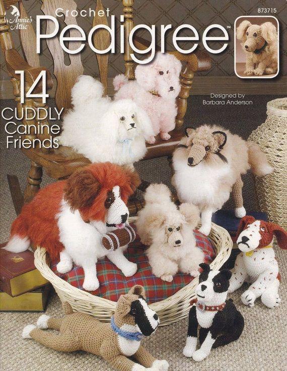 Crochet Pedigree, Annie's Attic 14 Dog Breeds Stuffed Animal Pattern 873715 RARE Pekingese Apricot Poodle Dachshund Golden Retriever & Puppy