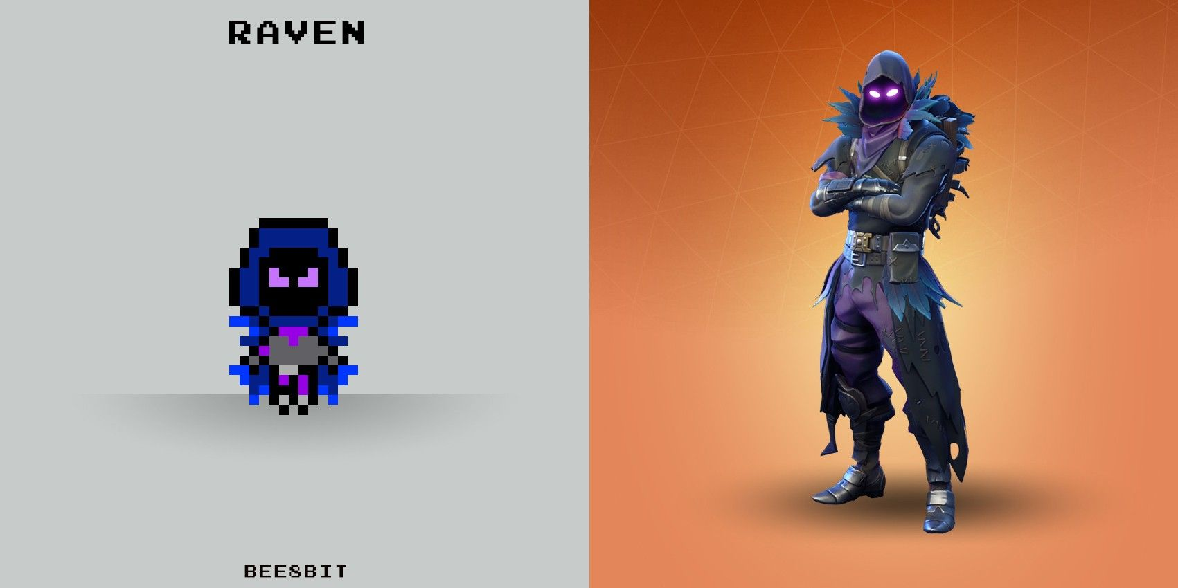Raven Fortnite pixel (With images) Hama beads, Perler