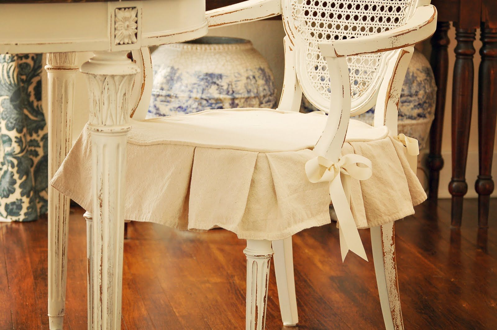 Miss Mustard Seed Dining Chair Slipcover Tutorial