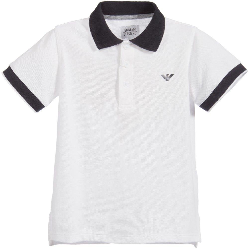 9370ecd740e Armani Junior - Boys White Cotton Piqué Jersey Polo Shirt | Childrensalon