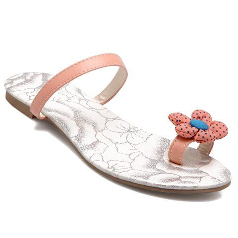 Sweet Style Flower and Flat Heel Design Women's Slippers