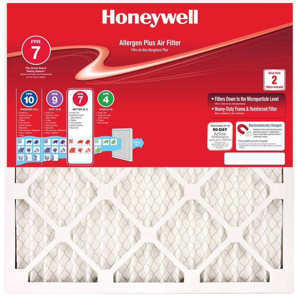 Honeywell 14 In X 20 In Allergen Plus Pleated Air Filter Case Of 12 Air Filter Furnace Filters Air Filter Sizes