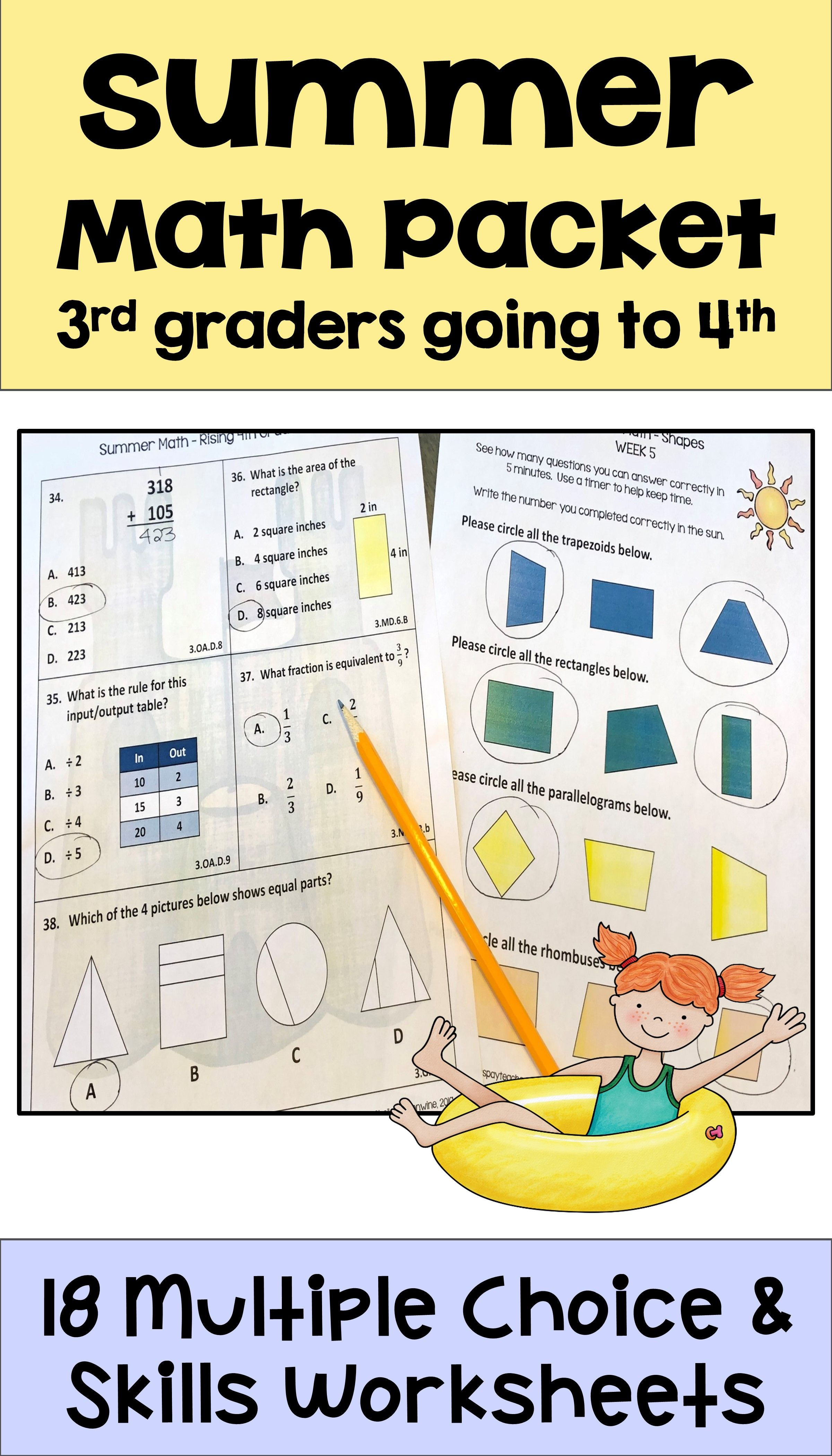 Summer Math Packet for Rising 4th Graders - Review of 3rd Grade Math   Math  packets [ 4200 x 2400 Pixel ]