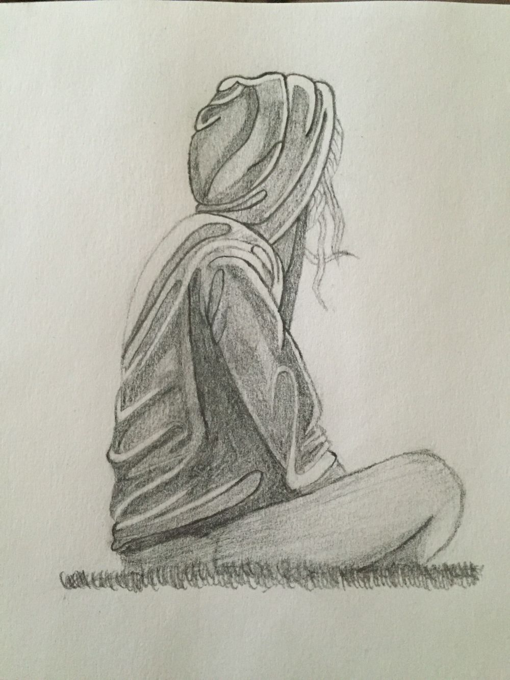 Sketches of lonely girls pencil sketch