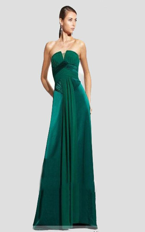 235cc3a31dba Bcbg Green Strapless Pleated Ruched Gown Sale | My Style | Strapless ...