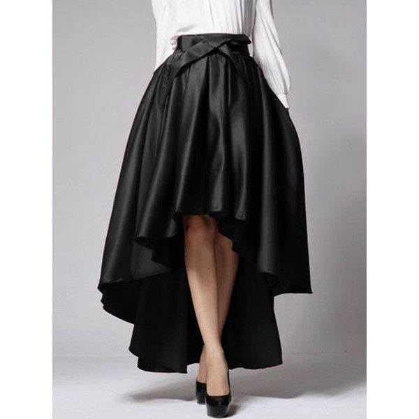 b672ef6af3 Choies Black Bowknot Waist Hi-lo Skater Skirt ($21) ❤ liked on Polyvore  featuring skirts, black, short front long back skirt, circle skirt, hi low  skirt, ...