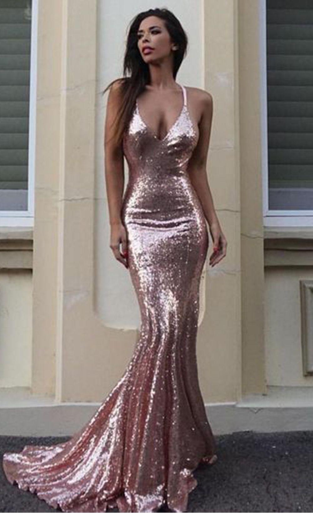 8999 Sexy Halter V Neck Party Sequin Maxi Dress