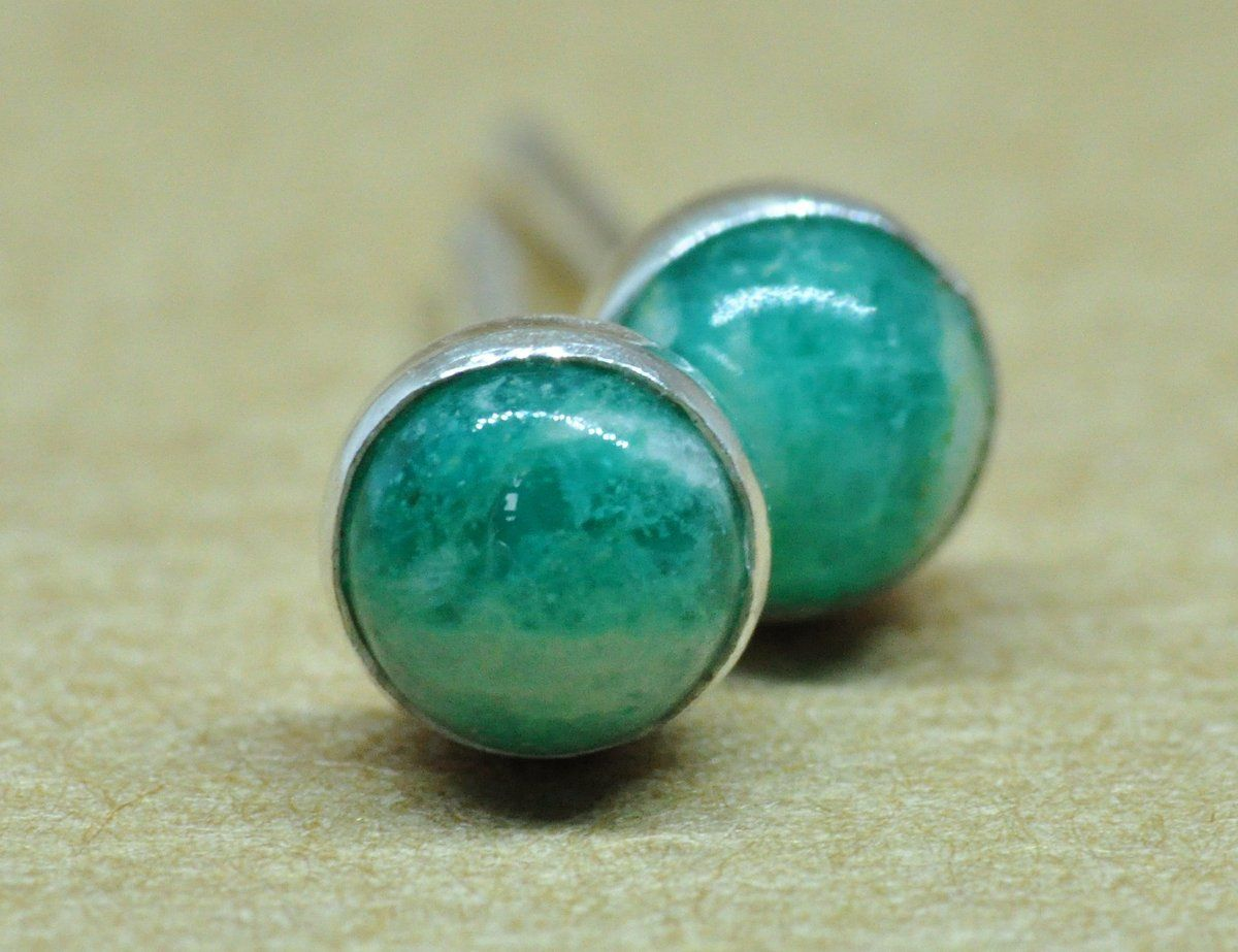 110abcb77 Amazonite earrings. Amazonite studs handmade with sterling silver. These  green colour Amazonite earrings are