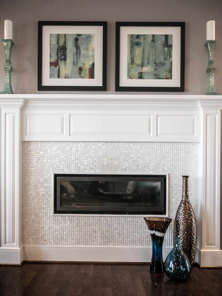 A Modern Fireplace Surrounded By A Quot Mother Of Pearl