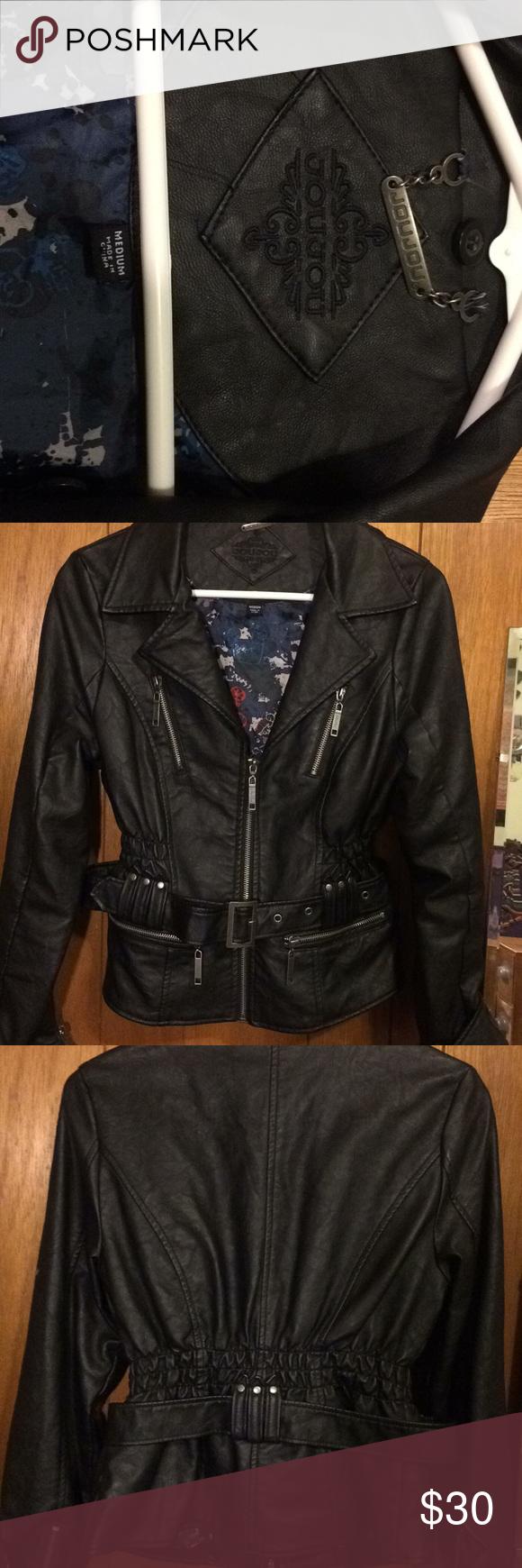Black leather jacket Joujou size medium womens jacket