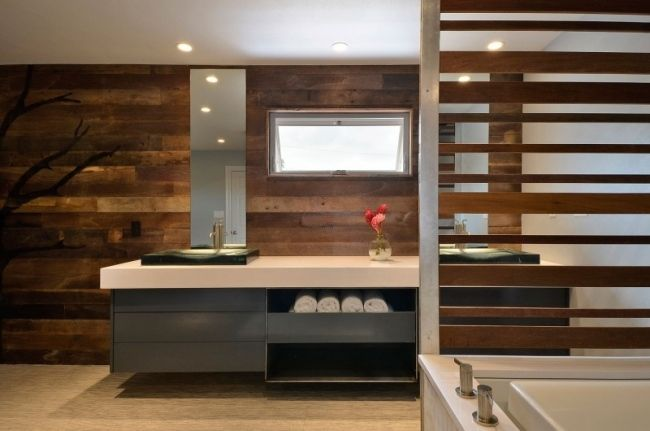 Elegant Badezimmer Holzwand 1