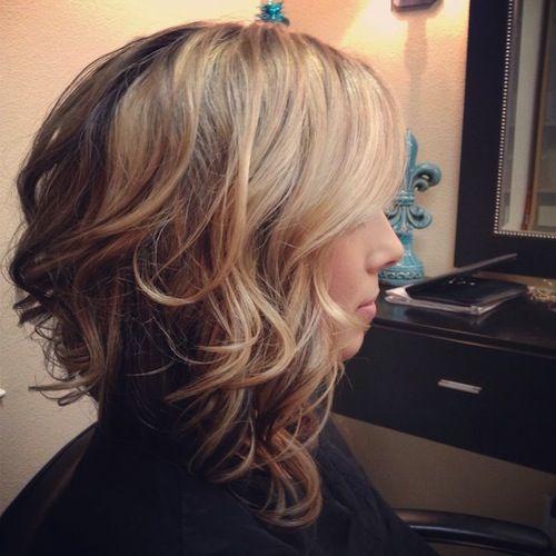 Long Wavy Asymmetrical Bob Haircut for Women