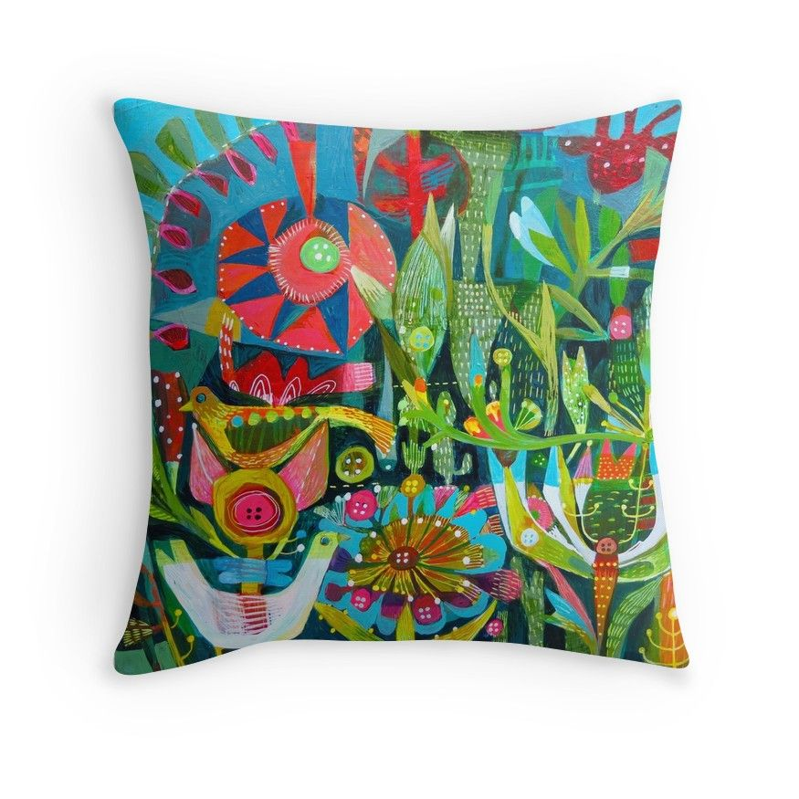 'Birds and Buttons' Throw Pillow by Este MacLeod Throw