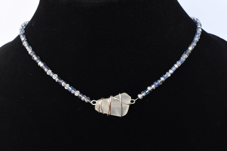 Aqua Opal Glass Beaded Choker Necklace  Beach Jewelry  Handmade Choker