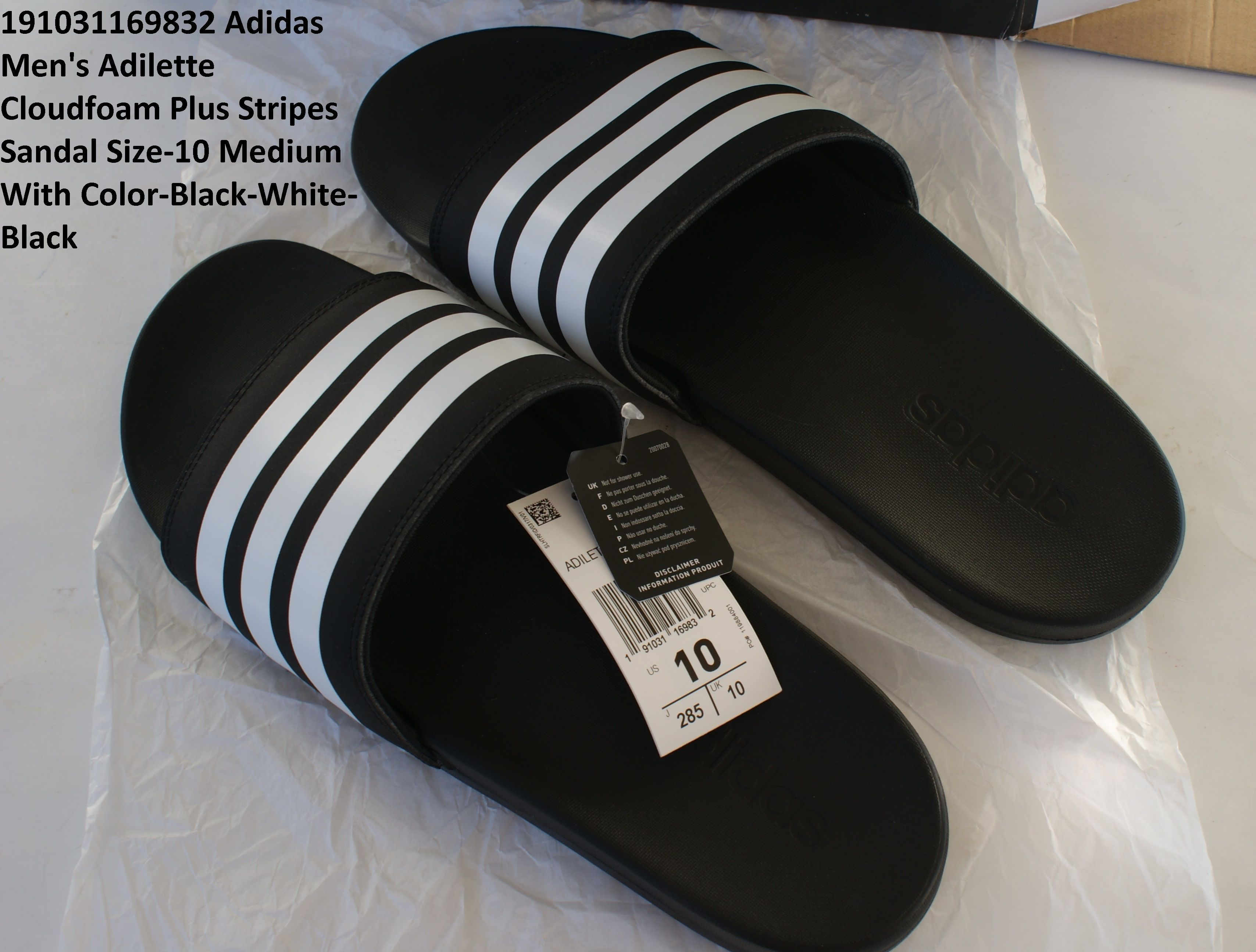7072ac669 Description  Living up to its name the adidas Men s Adilette Cloudfoam Plus  Stripes Sandal will have you walking on clouds. Slip into pillow-soft  comfort ...