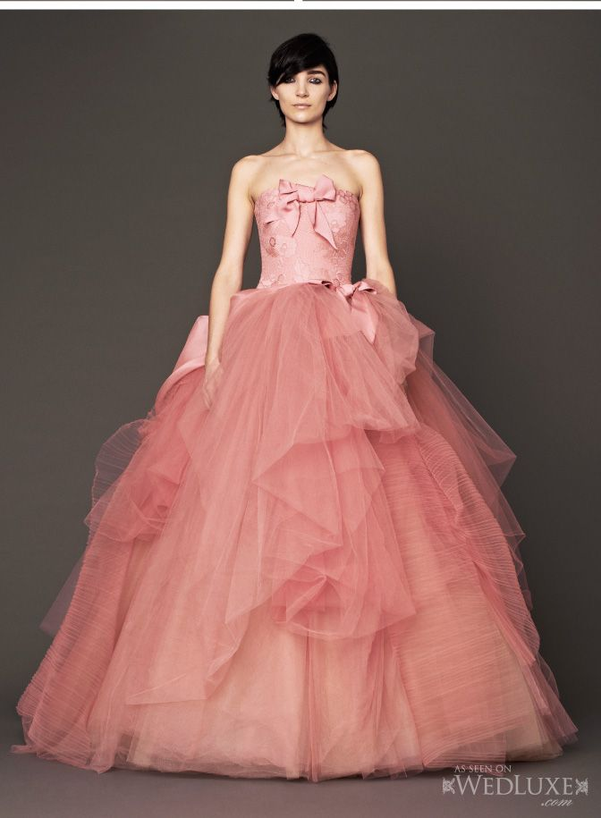 7813034ee763 WedLuxe: Fashion Report -Vera Wang #Bridal Fall 2014 filled with #pink gowns