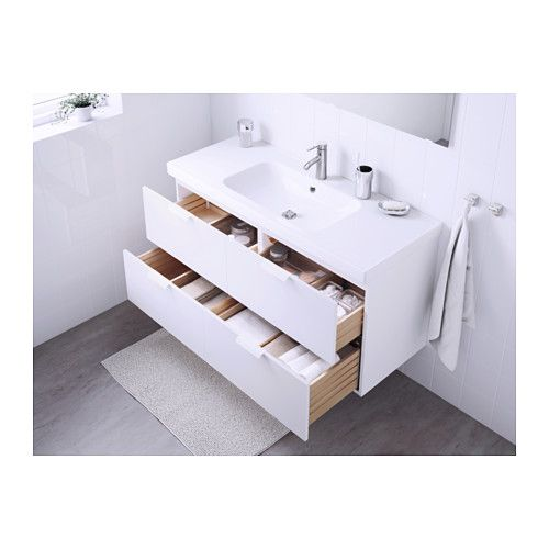 GODMORGON / ODENSVIK Sink cabinet with 4 drawers, high gloss white ...