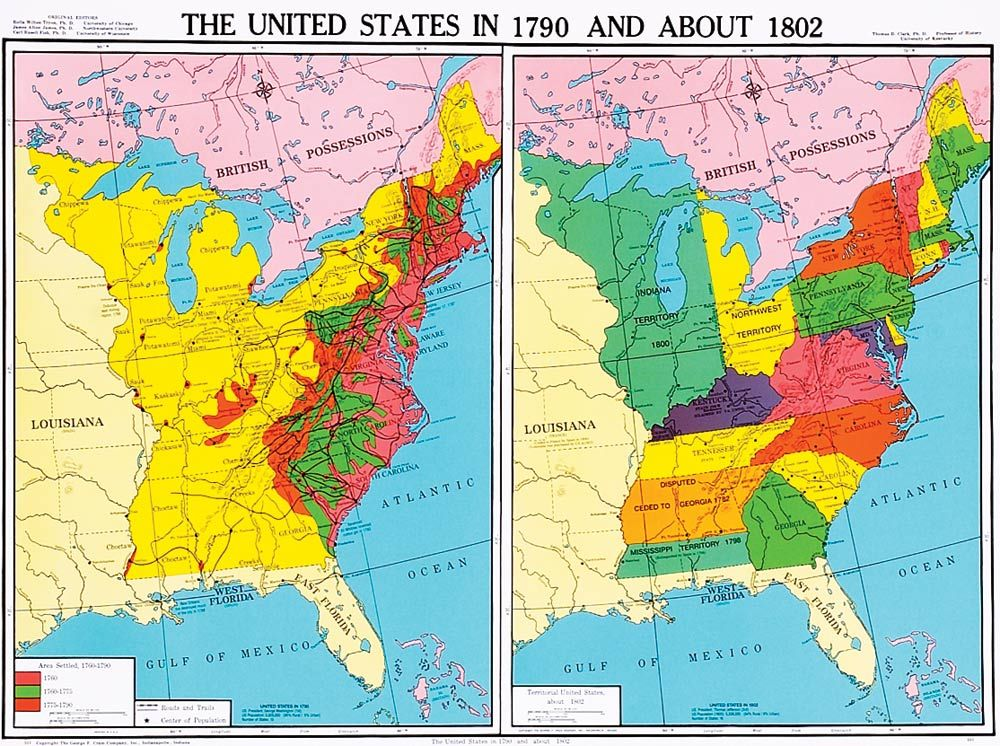 Us History | United States in 1790 and About 1802, U.S. History