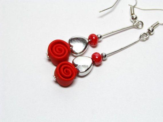 2f1c983839b9 Pendiente espiral pendiente de plata pendientes de por EviDesign Pendientes  Rojos