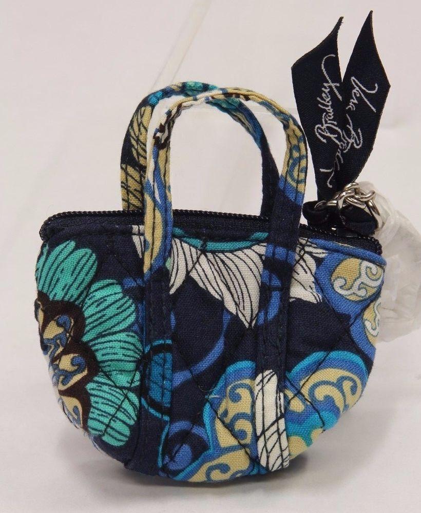 Vera Bradley Key Chain Coin MOD Floral Blue Miller Mini Bag SB0128 #VeraBradley