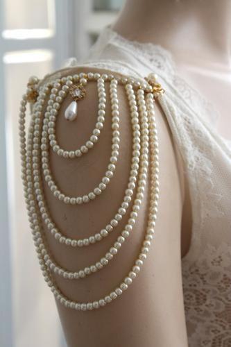 Shoulder Epaulettes,Bridal Wedding Pearl Jewelry,1920s,Dress Sleeves #pearljewelry