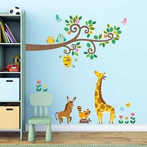 Geniales dibujo animales bosque pegatina de pared diy for Pegatinas dormitorio bebe