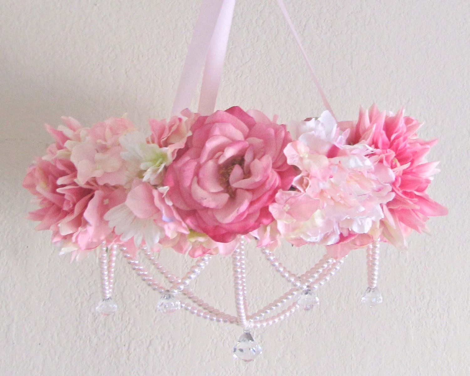 Baby mobile flower crib mobile floral chandelier shabby chic pink baby mobile flower crib mobile floral chandelier shabby chic pink baby girl nursery decor pearls aloadofball Gallery