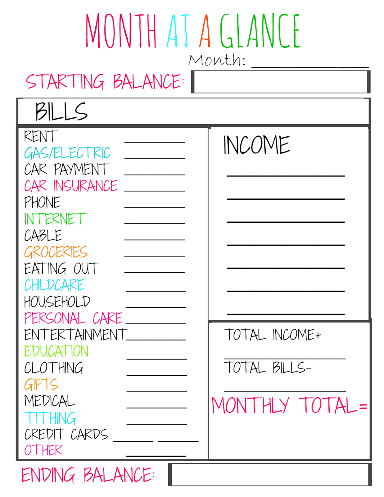 month at a glance budget sheet
