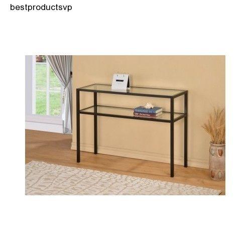 Ebay Glass Console Table Black Metal Sofa Clear Modern