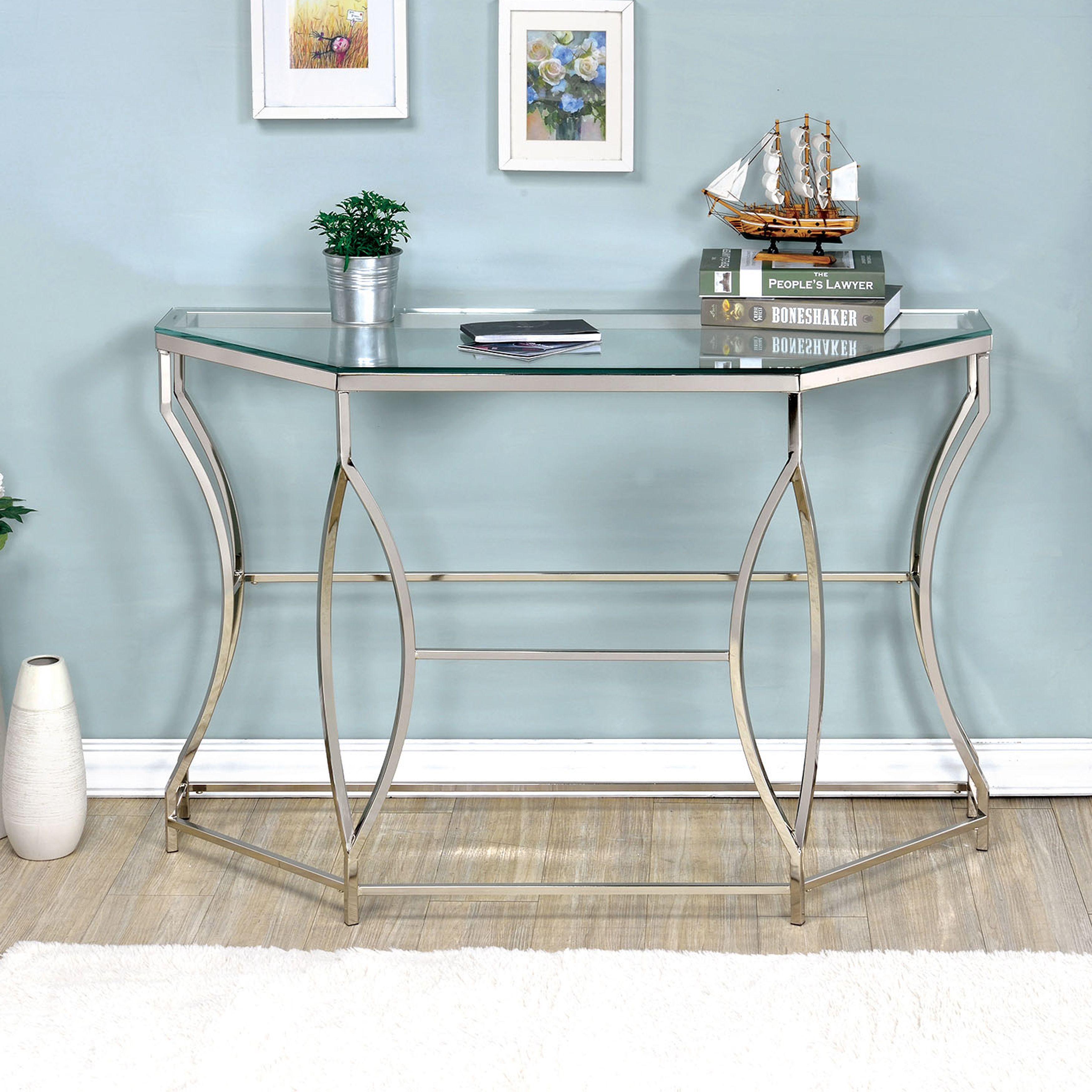 Furniture of America Martello Contemporary Chrome Glass Top Sofa