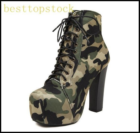 93af1191 Fashion Womens Camouflage Platform High Heels Lace Up Dating Ankle Boots Sz